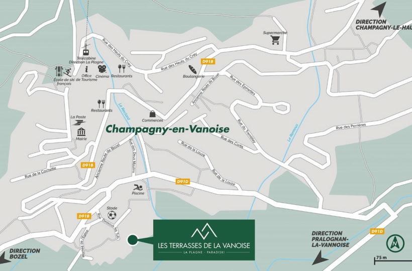 Les Terrasses de la Vanoise - Plan d'implantation de la résidence